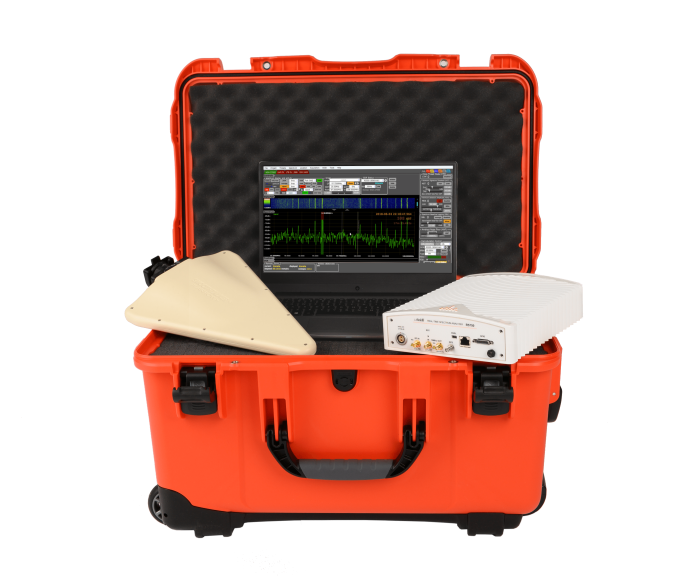 ThinkRF Surveillance System featuring R5750 analyzer, KESTREL TSCM Professional Software, and directional antenna